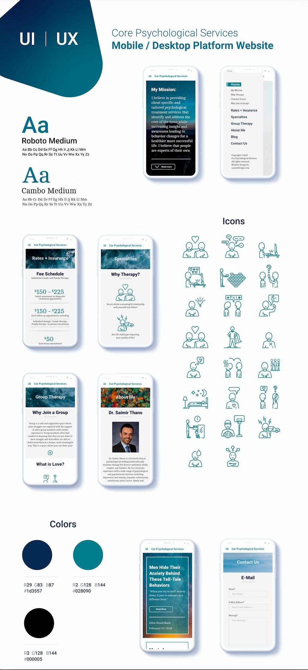 UI UX Mobile and Desktop Cor Psychological Services Web