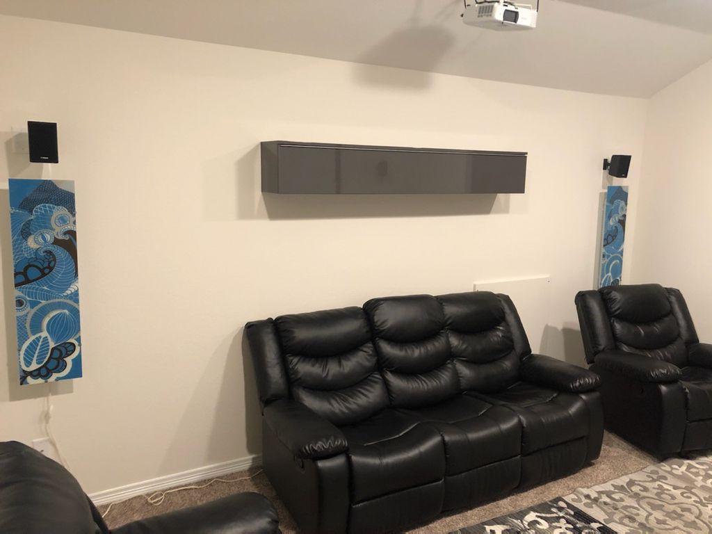 Hanging shelves and lights