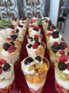 Fresh Fruit and yogurt parfait with honey granola