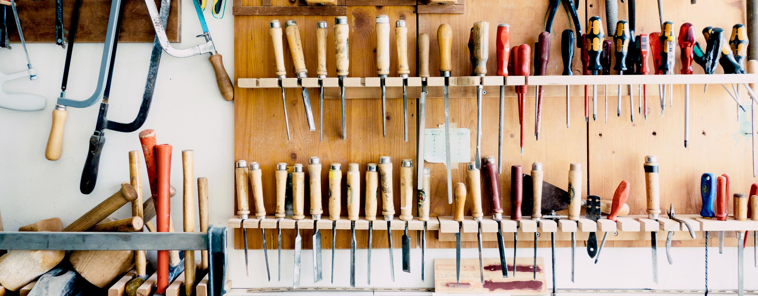 organized tools in workshop
