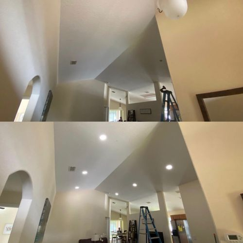 Before & After New wiring & recessed light installation