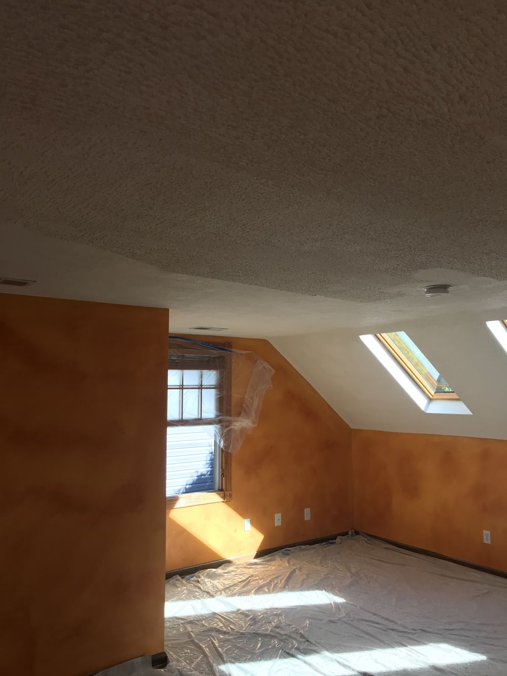 Popcorn ceiling cleaning it up to smooth ceiling