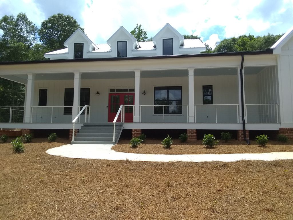Front porch cable railing & retaining wall railings