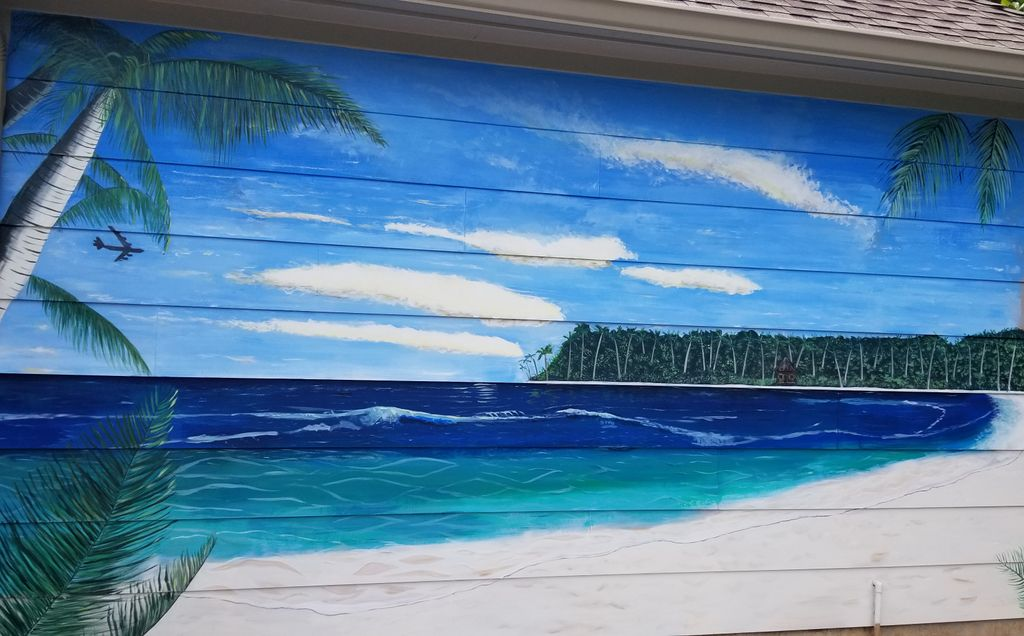 Tropical Beach Scene with couple
