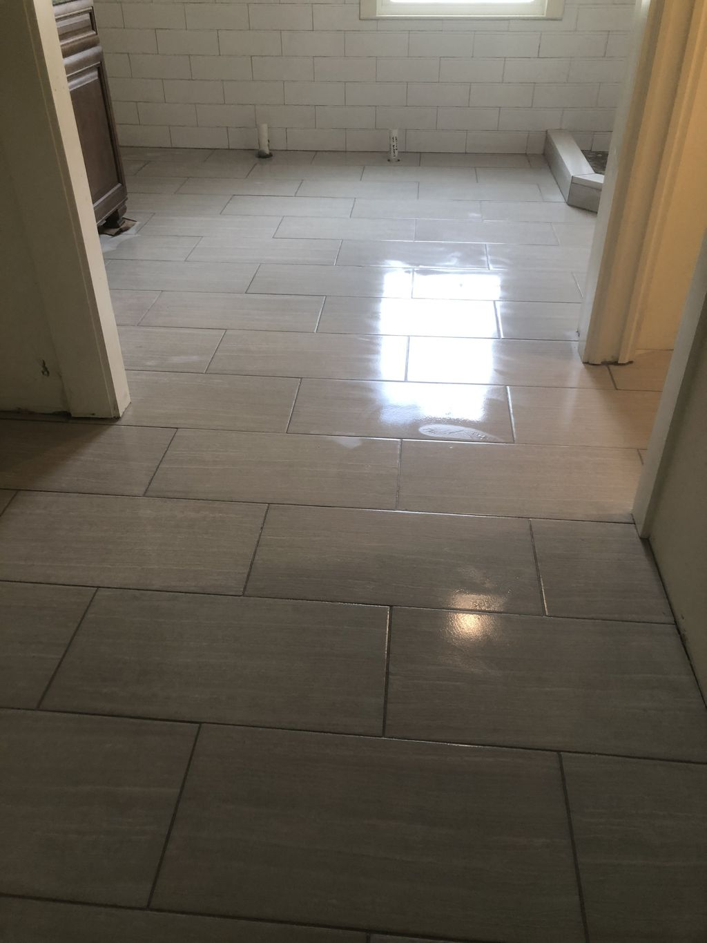 Walk in shower walls and laundry room