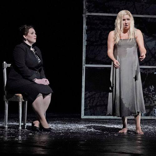 Performance photo of me (Dama di Lady Macbeth) with Anna Netrebko as Lady M in Macbeth at the Metropolitan Opera. Photo: Ken Howard/MetOpera 2019
