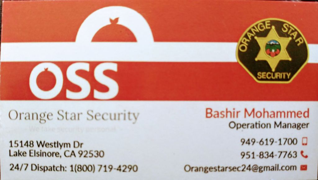 Security and Body Guard Services - Orange 2020