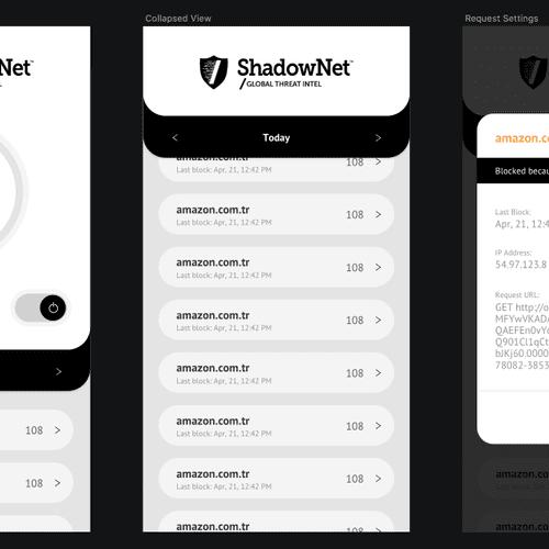 ShadowNet mobile app on iOS