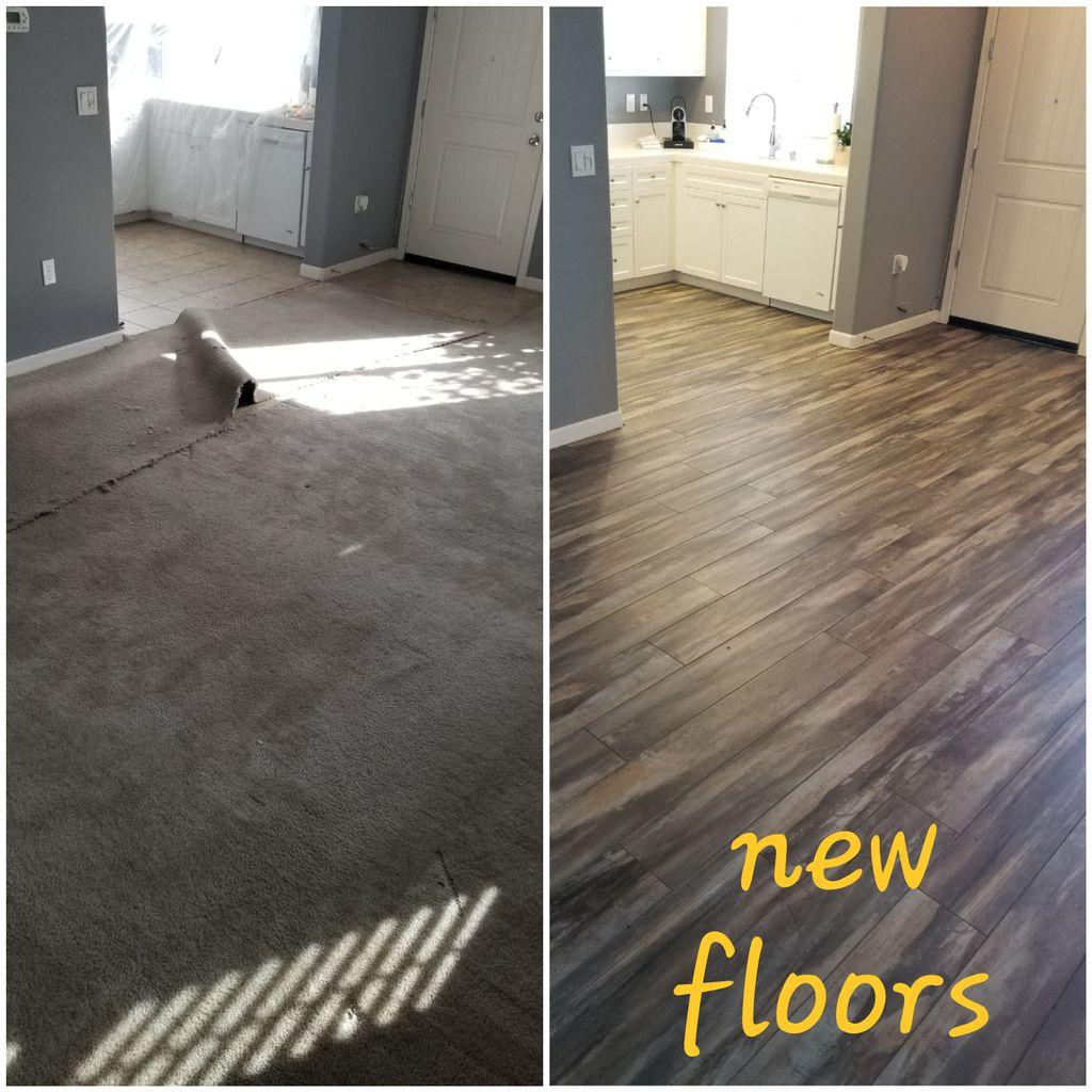 New flooring LR, kitchen, bath
