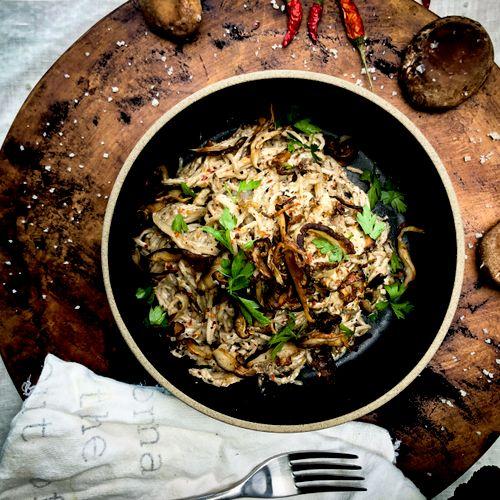 "Vegan Smoked Eggplant Cashew Cream ""Cacio e pepe"" with Shitake mushrooms"
