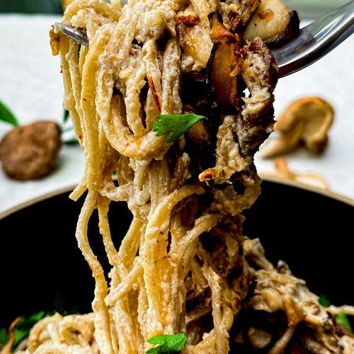 Close up of Smoked Eggplant Pasta