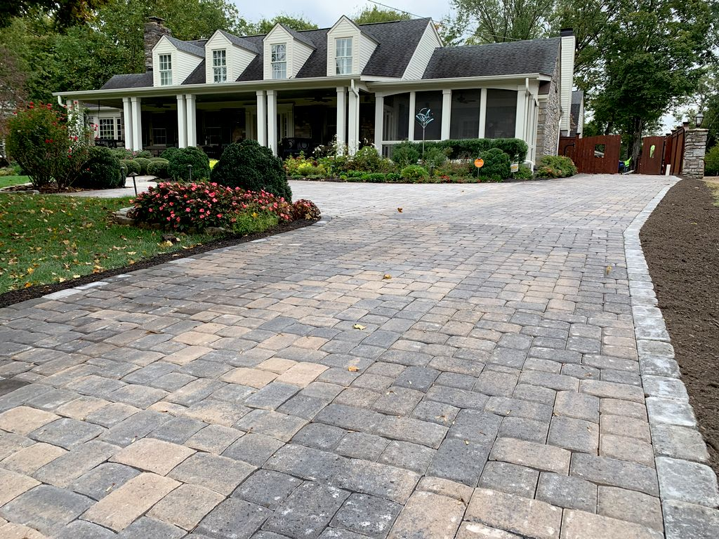 Large driveway laid over old asphalt, Patio and Parking Area