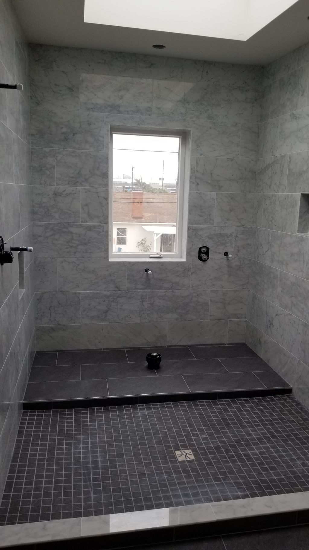 double shower in marble
