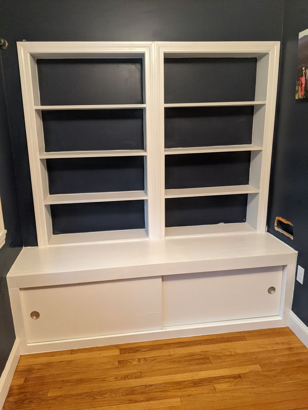 Built-in shelves and storage bench
