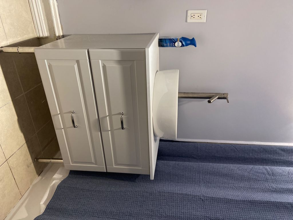 Assemble and install of sink cabinet, sink and faucet