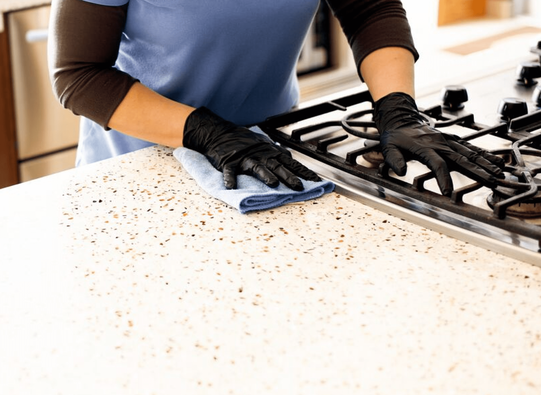cleaning counter and stove
