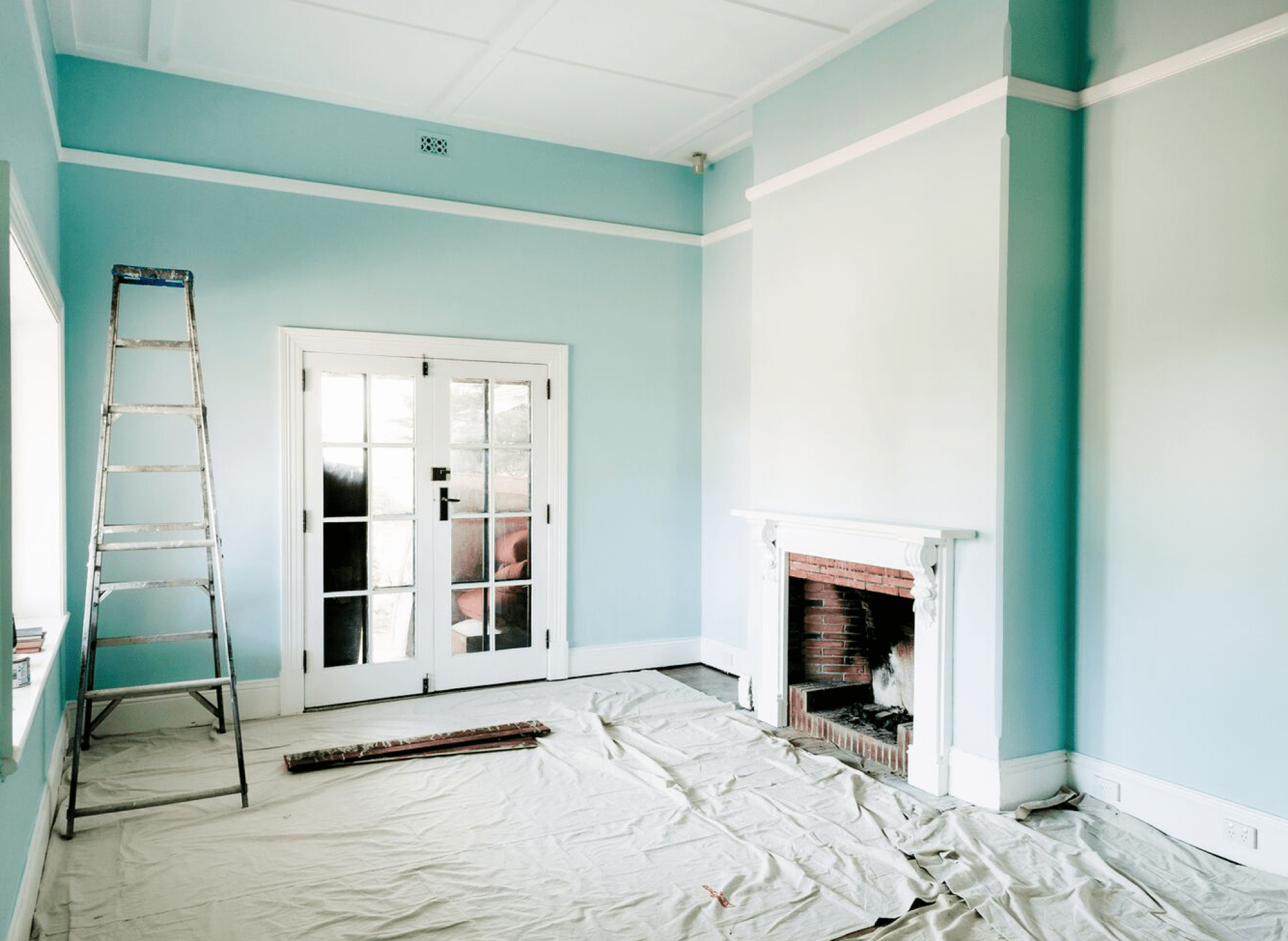 finished blue painted room