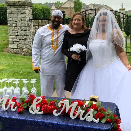 Carlotta and Ladon's outdoor wedding
