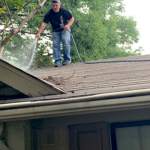 Going above and beyond cleaning this customer's roof of all the leaves and debri, so that it won't end up back in the gutters