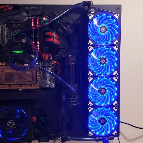 Fully water cooled custom built gaming PC on a wall mount