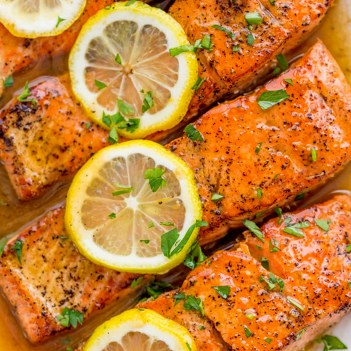 Citrus Poached Salmon with Ginger Glaze