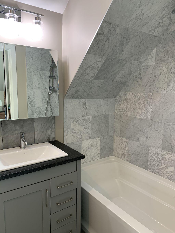 Bathrooms, fireplace and backsplash