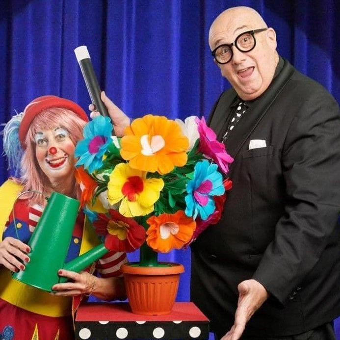 Magician Steve Hart and Rufflez the Clown