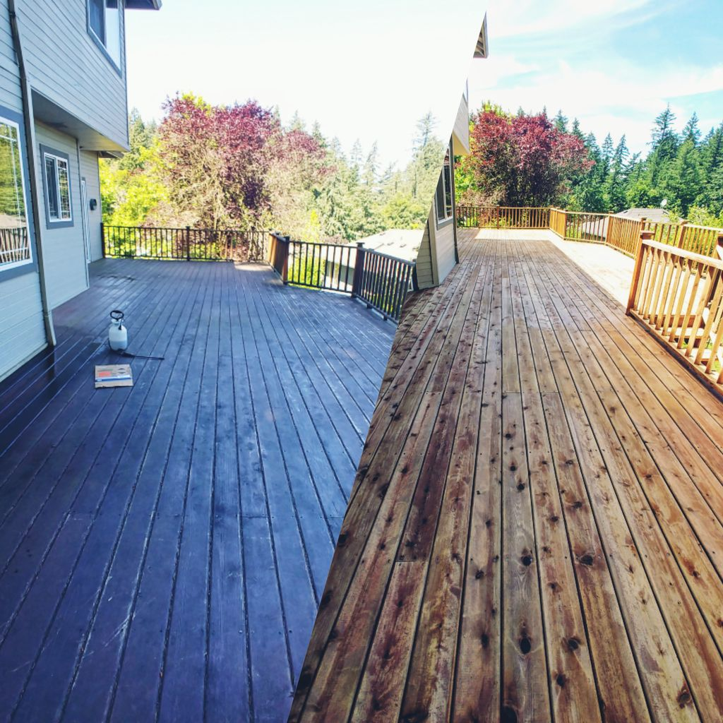 Strip, Sand and Two Tone Stain - 900 sq ft deck