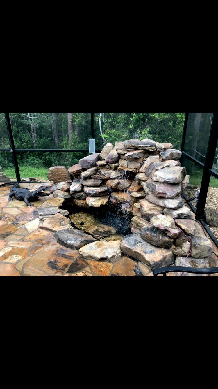 Waterfall, flagstone, rock wall, screen enclosure