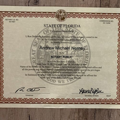 Certificate from the State of Florida