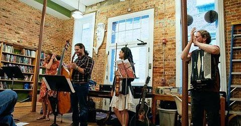 With my folk band, Winterbirds.