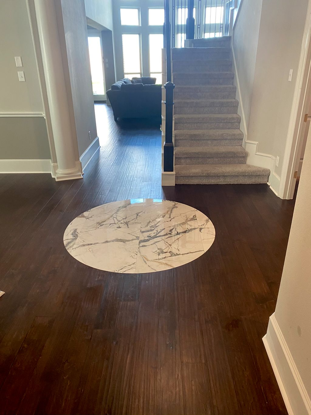 Engineered hardwood installation - before and after pictures