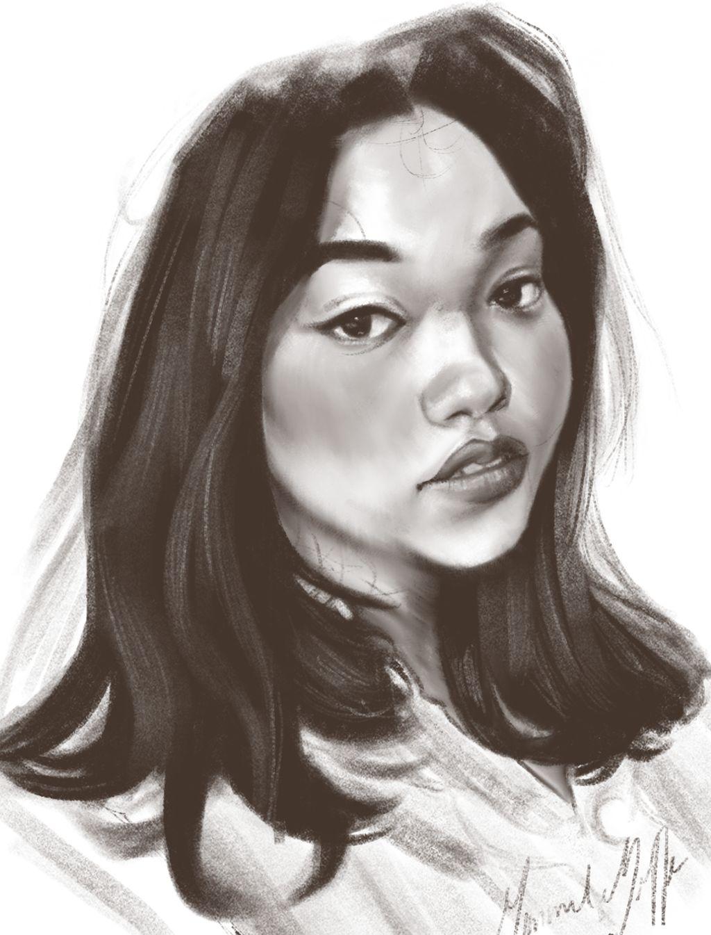 Realistic Monochromatic Digital Portrait