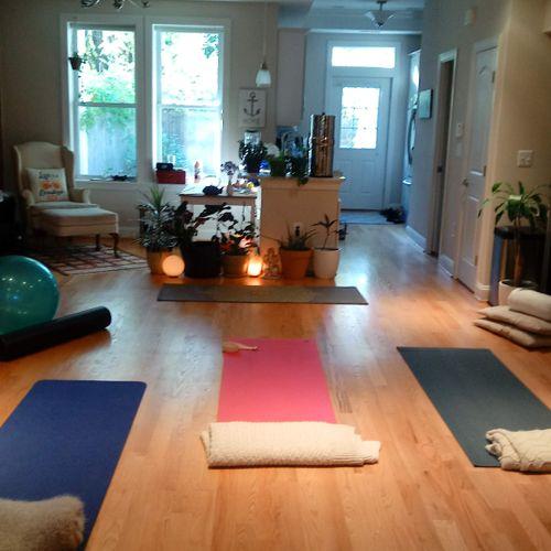 I teach private yoga in my home studio. (Old DC studio)