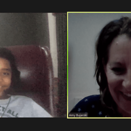 My student Nathaniel and I having a good time during our online tutoring session.