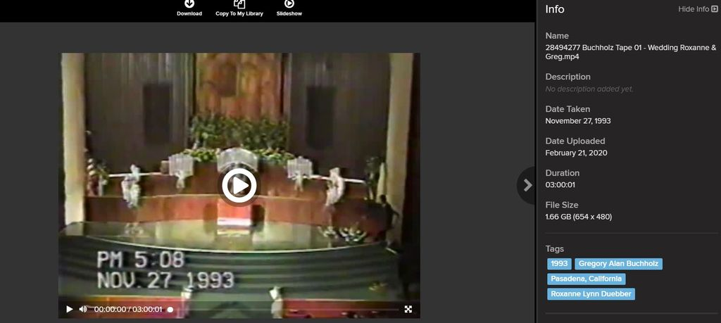 Roxanne's Wedding Video Transfer