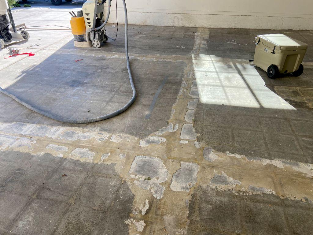 Garage floor Carpet glue removal  before & after