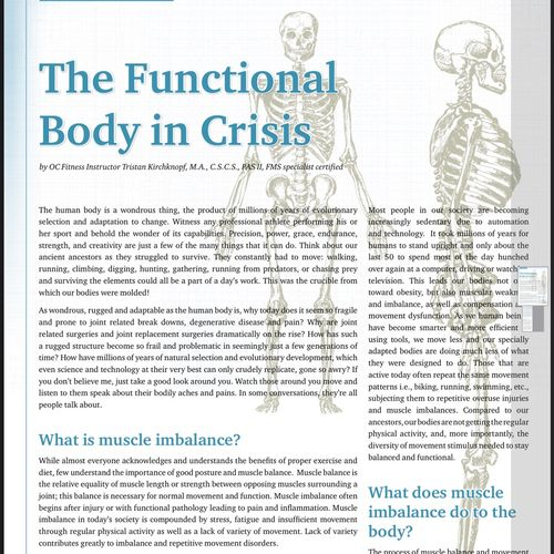 An article I wrote for our club on the importance of a well aligned and functioning body.