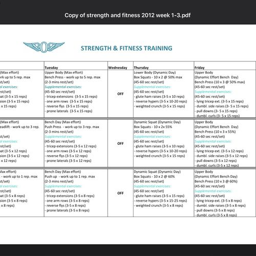 One of the periodization or peaking strength programs I developed for our clubs Strength & Fitness Championships