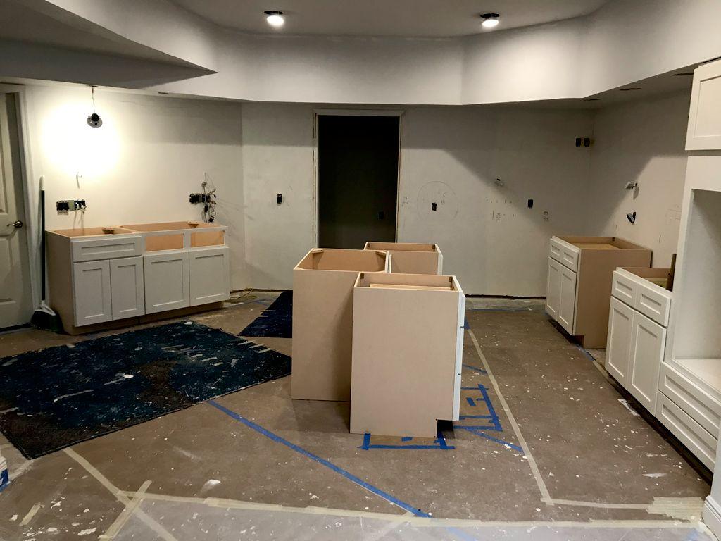 Countertops cabinets and backsplash