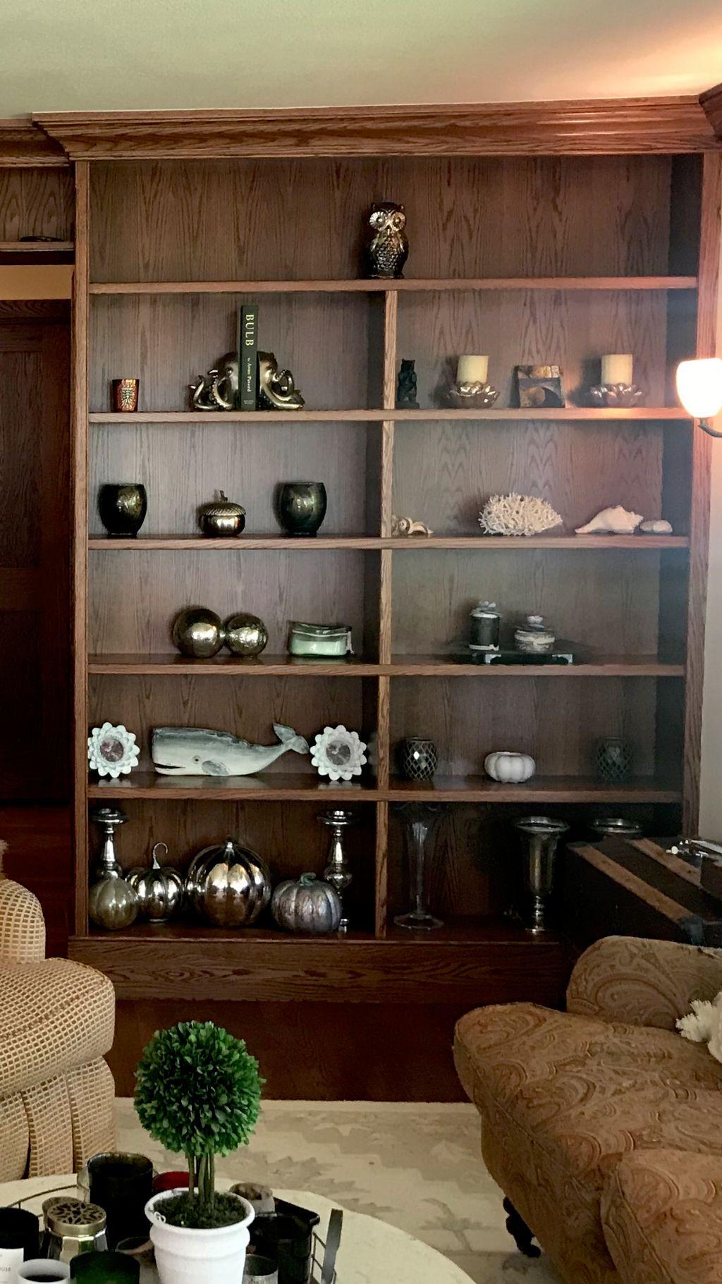 Built in bookshelves