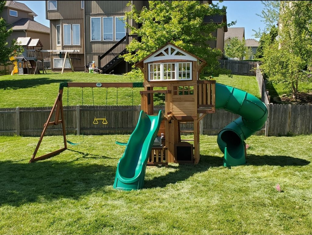 cedar play swingset and slide