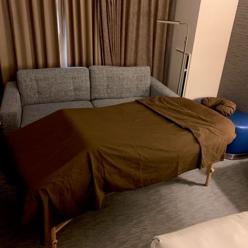 An example of my set up when visiting a hotel room. I can make due with any space.
