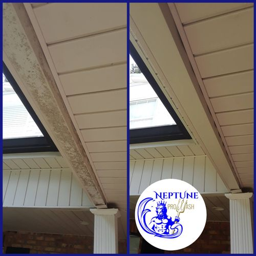 Soffits and porch low-pressure house washing in Luling 70070 by Neptune ProWash