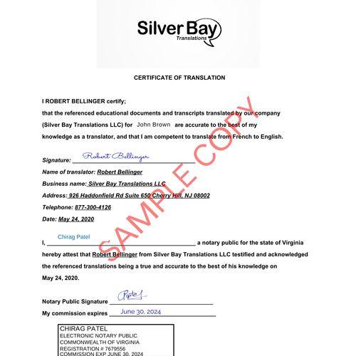 Notarized Translation Certificate Sample