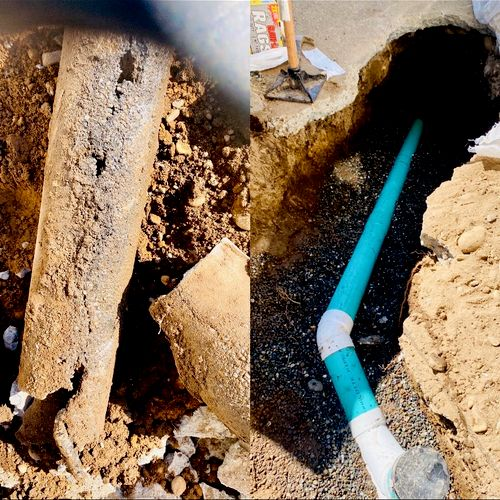 Old concrete sewer pipe and New SCH 35 PVC sewer pipe.