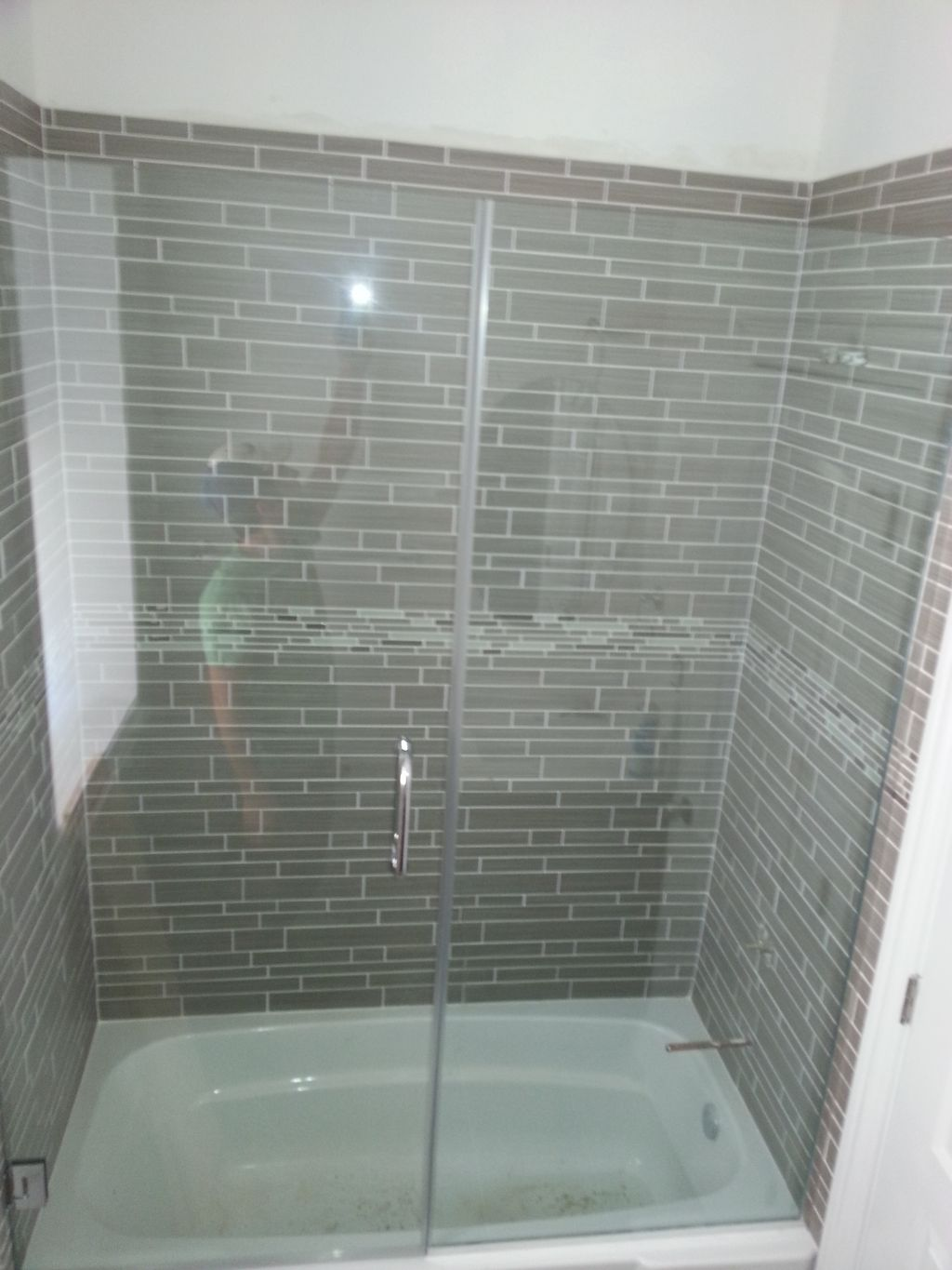 From shower curtain to Frameless shower door with fixed panel