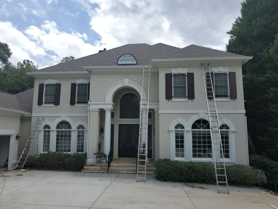 New gutters and Round downspouts
