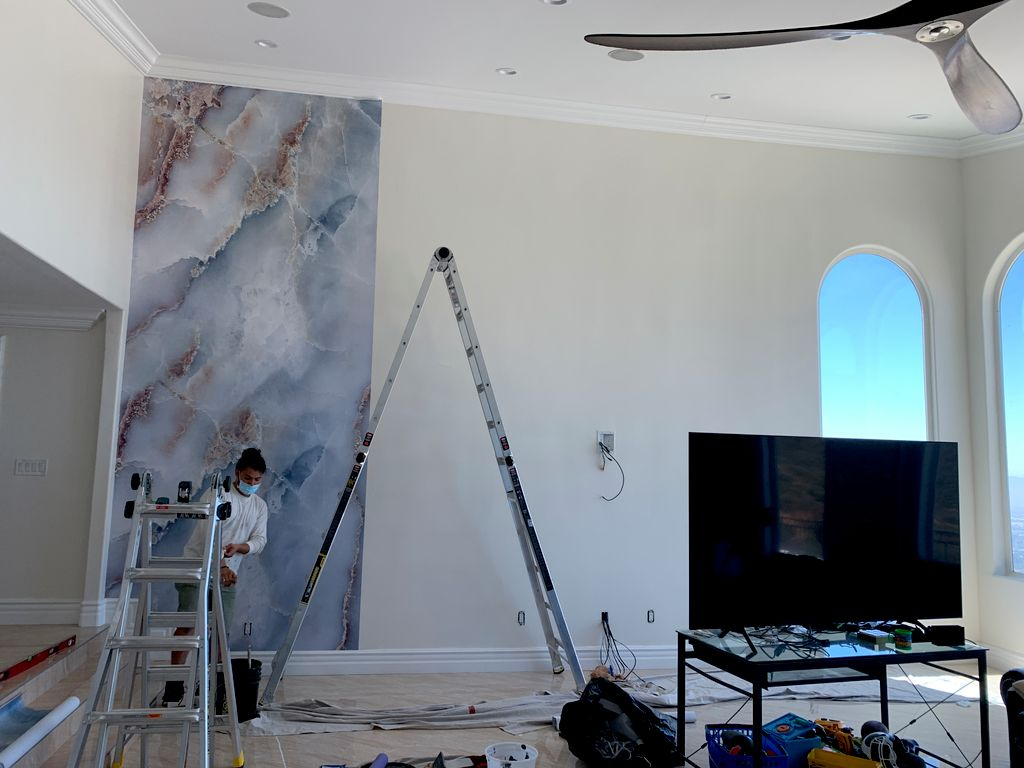 18 ft high wallpaper and tv installation