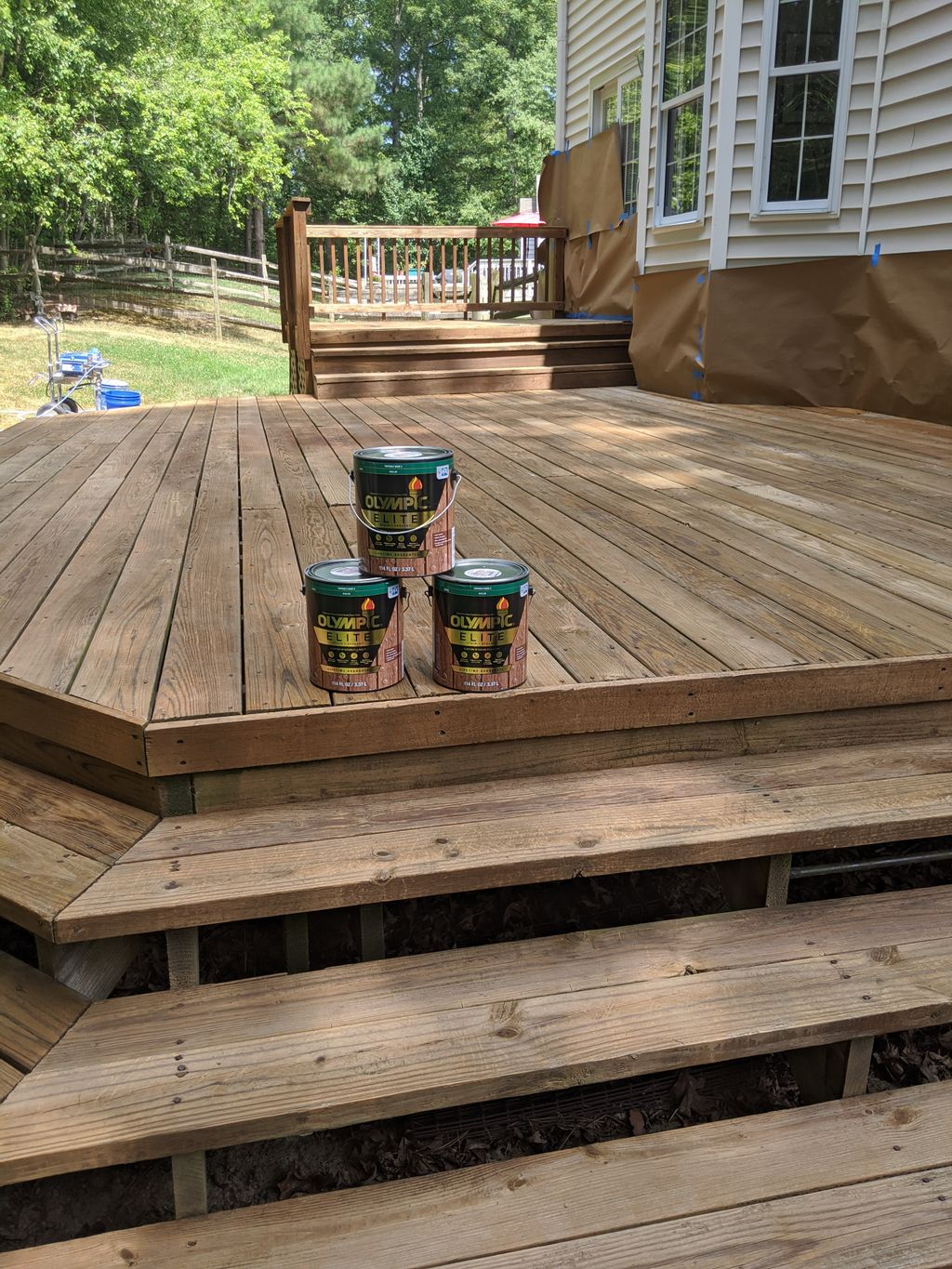 Stain back deck